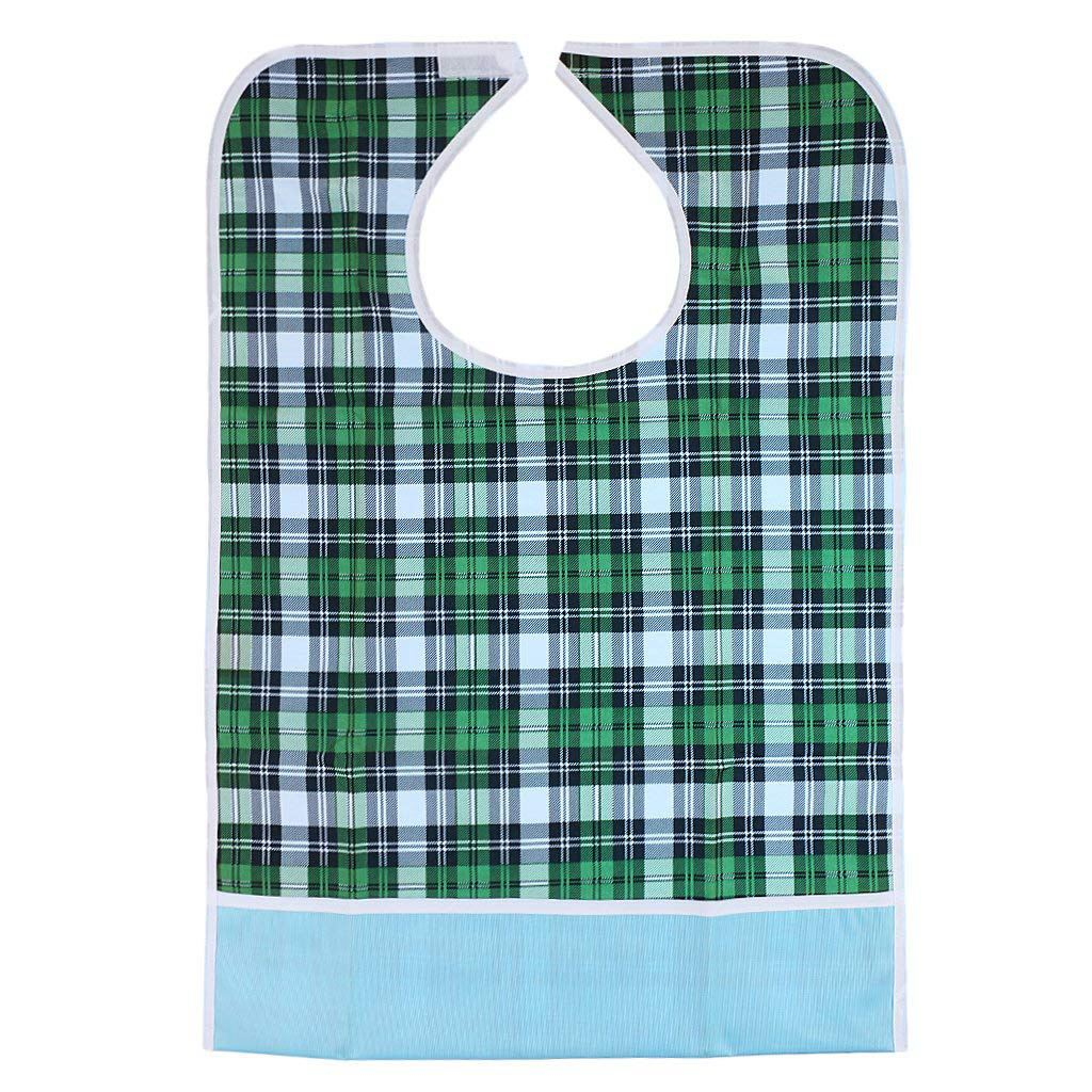 Adult Bib Waterproof Adjustable PVC Apron Detachable Protective-Garment Meal Pattern Divers-Green Grid, 46 x 65cm