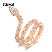 Kinel Animal Jewelry Wholesale Fashion Rose Gold Snake Rings For Women Heavy Metals Punk Rock Crystal Ring Vintage