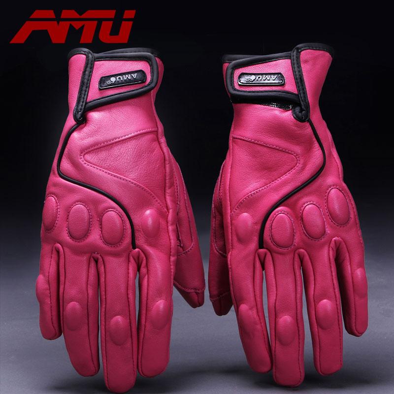 Hot Sale AMU Top Guantes Motorcycle Racing MTB Glove Real Leather Full Finger Moto Men Motorcross