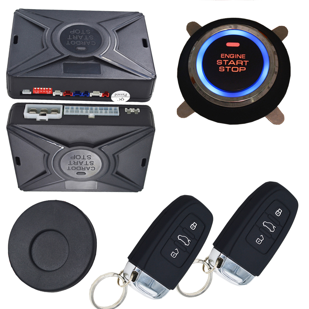 passive car alarm system smart key auto keyless entry central door lock  system ignition button start stop online discount price
