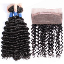 Gabrielle Brazilian Deep Wave 3 Bundles with 360 Lace Frontal Closure Human Hair with Frontal Closure Non Remy Hair Bundles(China)