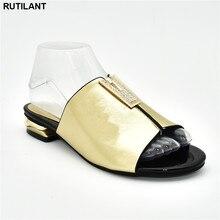 Nowa modna sukienka damska sandały 2019 Slip on African Women pompka imprezowa ozdobiona Rhinestone sandały damskie na obcasach