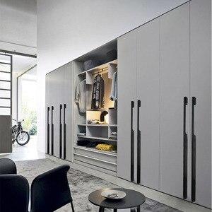 Image 2 - 1 adet uzun dolap kulpu 50 cm/80 cm/100 cm dolap kolları siyah mobilya kapı çeker büyük çekmece kolları