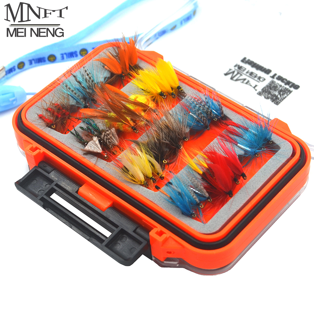 MNFT 72Pcs/Set Wet Dry Nymph Fly Fishing Lure Set Artificial Lnsect Bait Trout Fly Fishing Hooks Tackle With Waterproof Case Box mnft 10 colors select 0 3mm 30m copper wire fly fishing lure bait making material midge larve nymph fly tying material