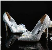 Movie Cinderella Wedding Party Diamond Ladies' Pumps Crystal High Heels Shoes Diamond SILVER RED