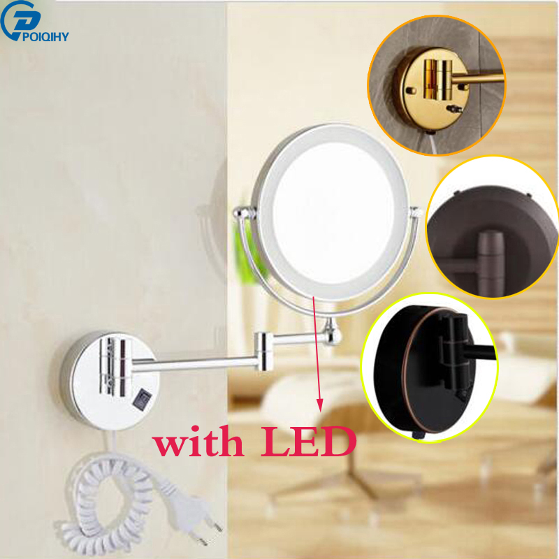 POIQIHY 8Wall Mounted Round Magnifying Bathroom chrome/ORB/red orb/golden Mirror LED Makeup Cosmetic Mirror poiqihy chrome rain