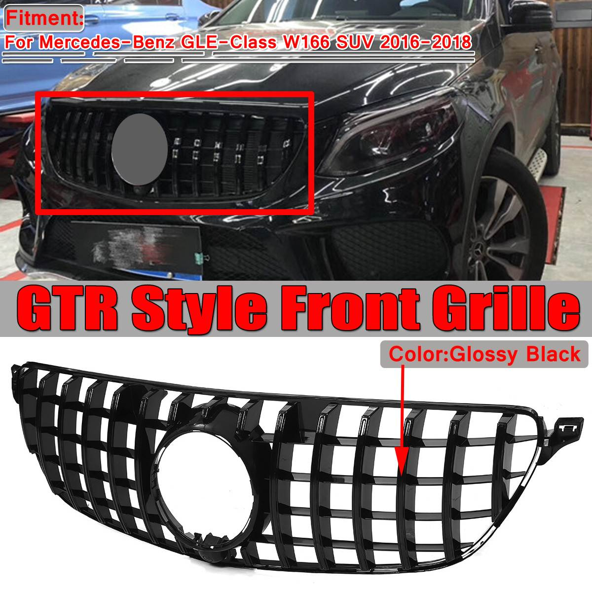 1x GTR GT R W166 Grill Car Front Grill Grille For Mercedes For Benz GLE-Class W166 SUV 2016 2017 2018 Black/Chrome Racing Grills image