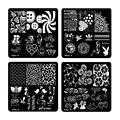Plaza nueva 20 Estilos de Uñas de Arte Sello Estampado de la Placa de 6 cm Plantilla de Diseño de Uñas uñas De Manicura de Impresión de Regalo de Navidad