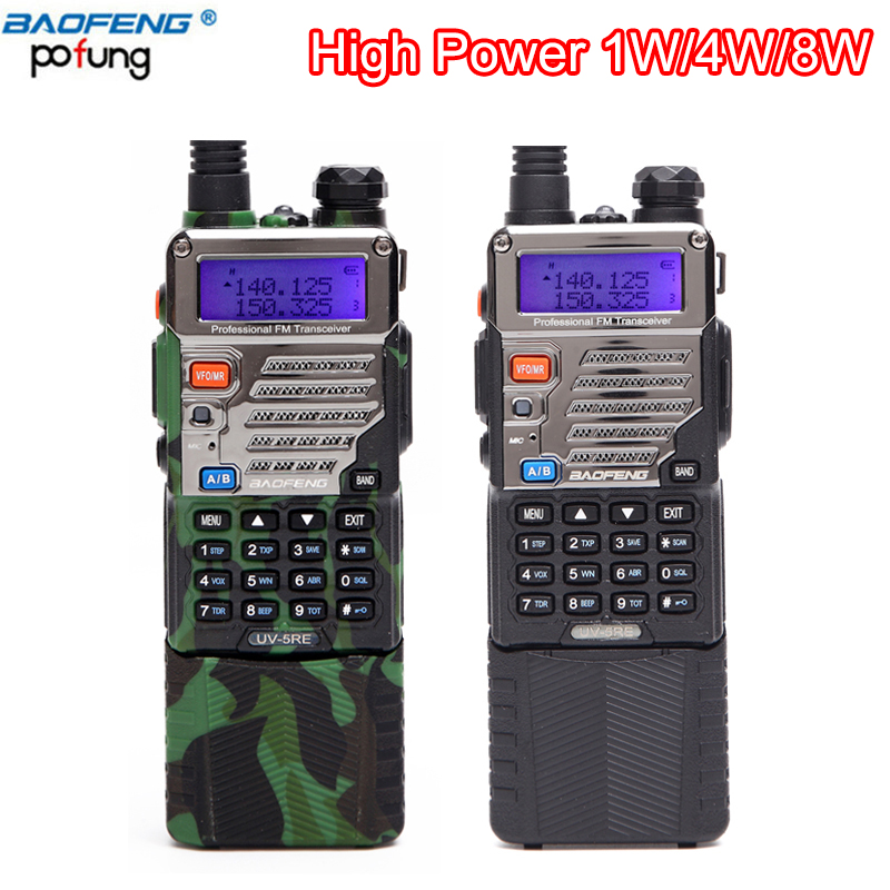2 pcs Baofeng UV-5RE 8 w talkie walkie 10 km haute Puissance 3800 mah Batterie Double-Bande VHF & UHF longue portée CB Radio pour randonnée voyager
