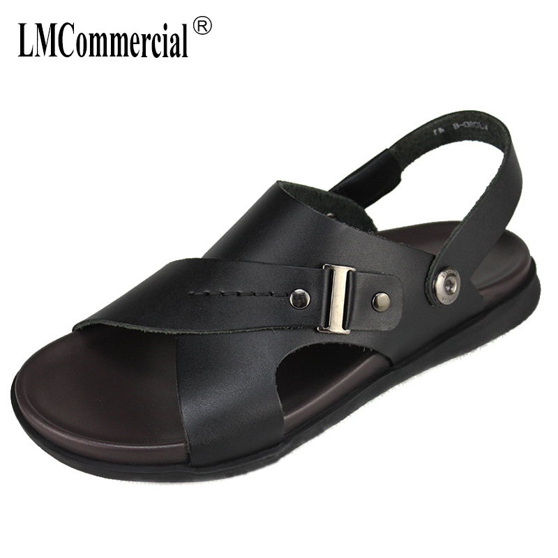 summer mens Genuine Leather sandals all-match cowhide leisure summer sandals Sneakers Men outdoor Slippers Flip Flops Shoes