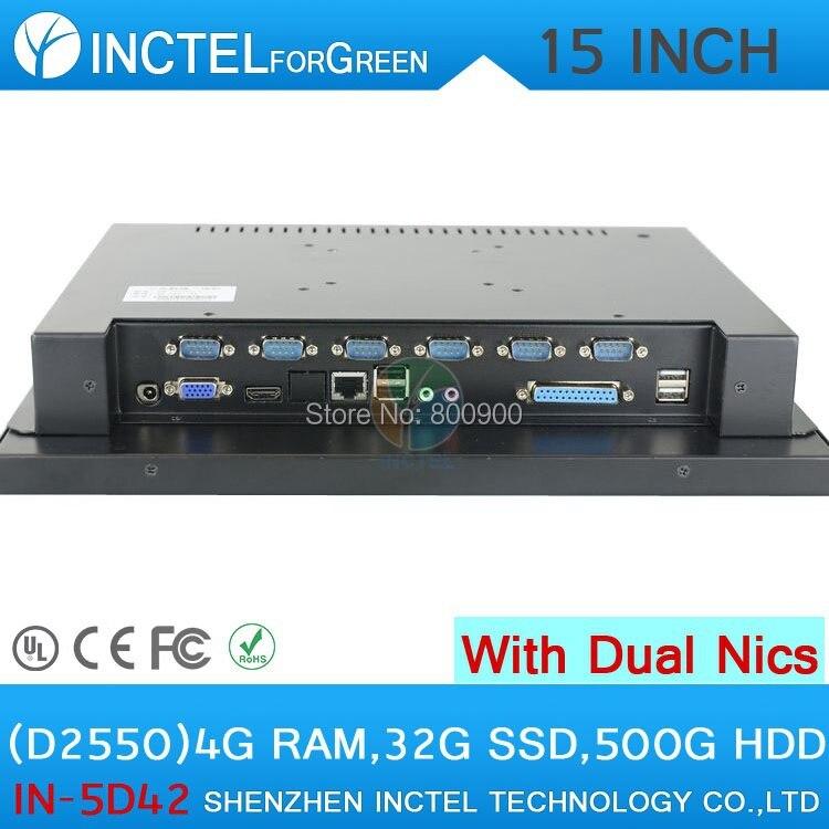 Промышленные сенсорный pos-компьютеров 1024*768 с 2 * RJ45 6 * COM HDMI 4 г Оперативная память 32 г SSD 500 г HDD Intel D2550 1.86 ГГц