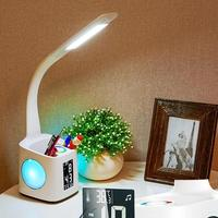LED Eye Protection Table Lamp Dimmable Desk Foldable Light Calendar Alarm Clock Temperature Display Reading Illumiantion With To