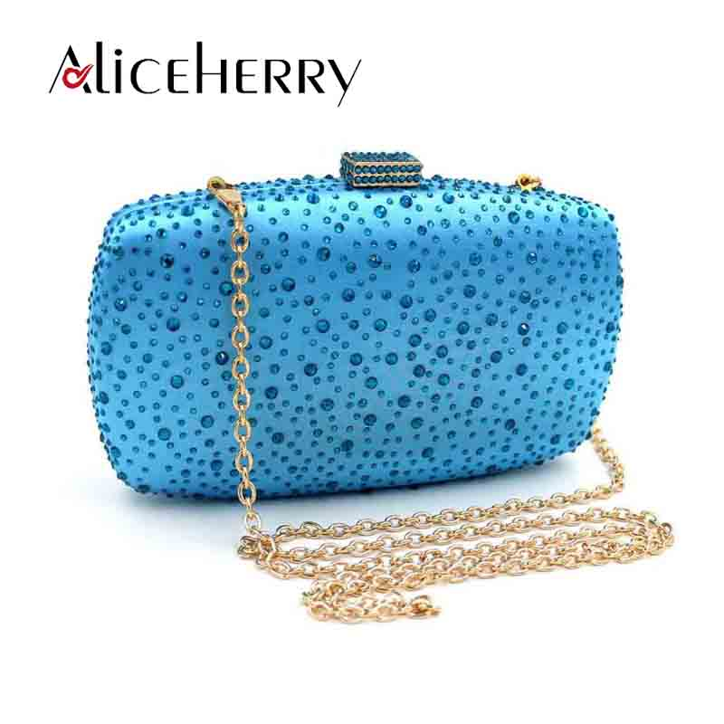 New Design Box Evening Bag Blue Crystal Luxury Clutch Bag Diamond Ladies Handbags Party Purse Golden Wedding Bag