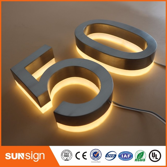 Warm White Led Light Outdoor Stainless Steel Doorplate Lamp House Number Letters Apartment