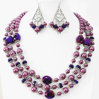 Newly purple earrings necklace 3rows round shell simulated-pearl oval crystal beads special design jewelry set 18-22