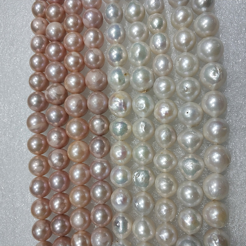 JYX New Edison Pearl Strings Natural Freshwater Pearl 13-15mm Round String High Quality 16inches(white,pink)