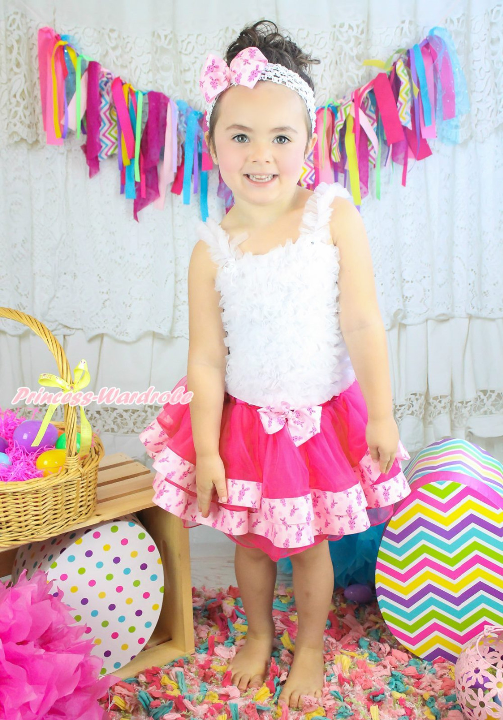 Easter White Ruffle Tank Top Hot Pink Bunny Satin Trim Pettiskirt Outfit NB-8Y MAPSA0602 hot pink top shirt camouflage lacing satin trim girl pettiskirt outfit set nb 8y mapsa0642