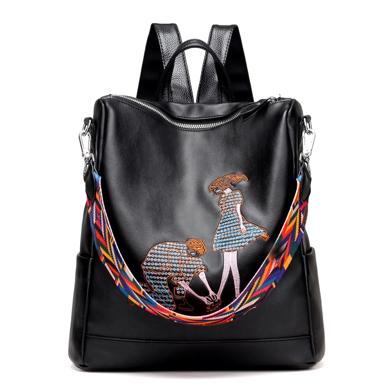 2017 Embroidered Backpack Women Pu Leather Shoulder Bag Fashion Ladies Backpack Travel Bag School Bags For