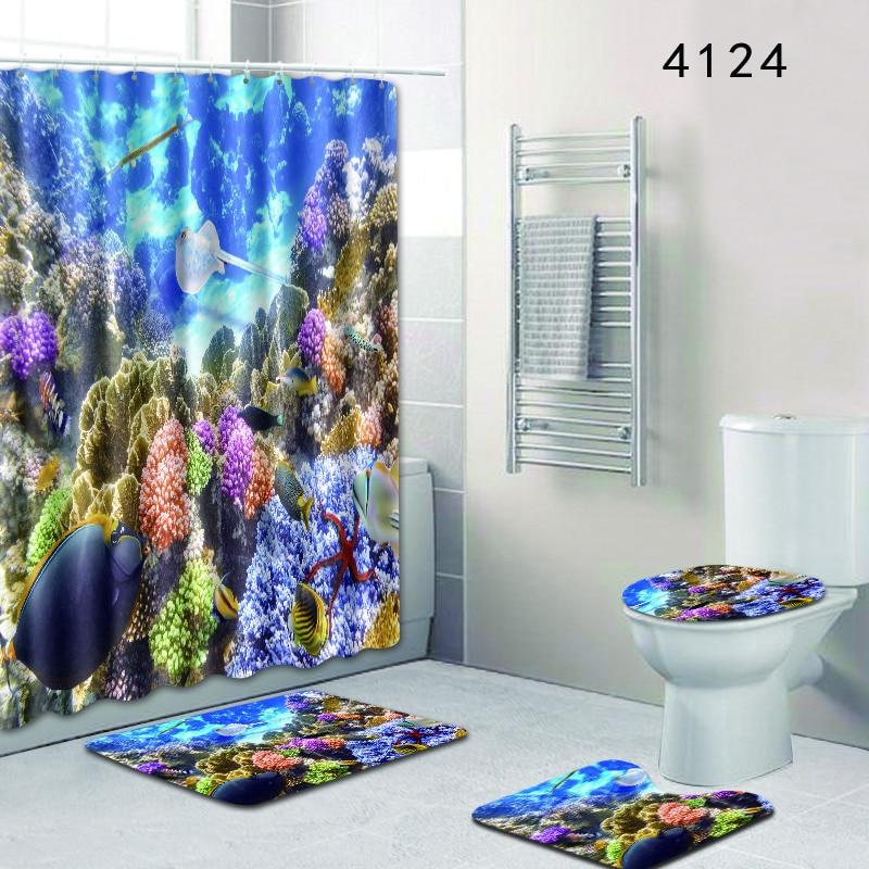 F 4pcs Bathroom Shower Curtain And Rug Sets Bath Mats Non