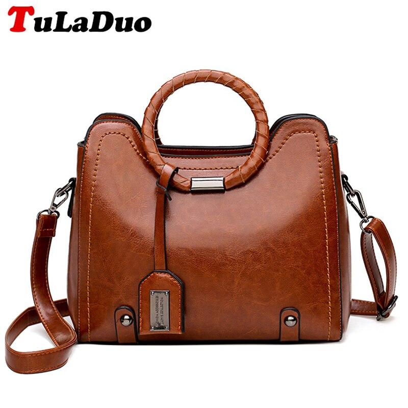 Designer Top-Handle Bags Solid Soft Leather Vintage Shoulder Bag Women Casual Tote Handbag High Quality Famous Brand Crossbody