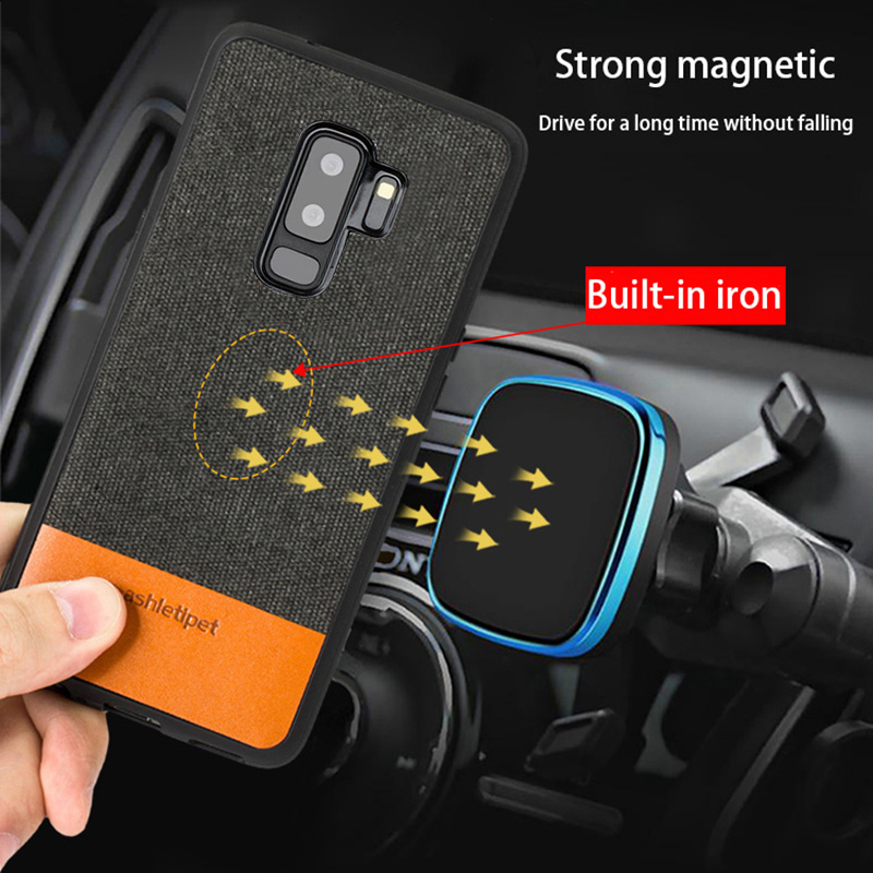 Original Men business Magnetic case for samsung S9 S10 lite Note 9 note 8 fabric shockproof cover For samsung A50 A70 A7 A8 2018