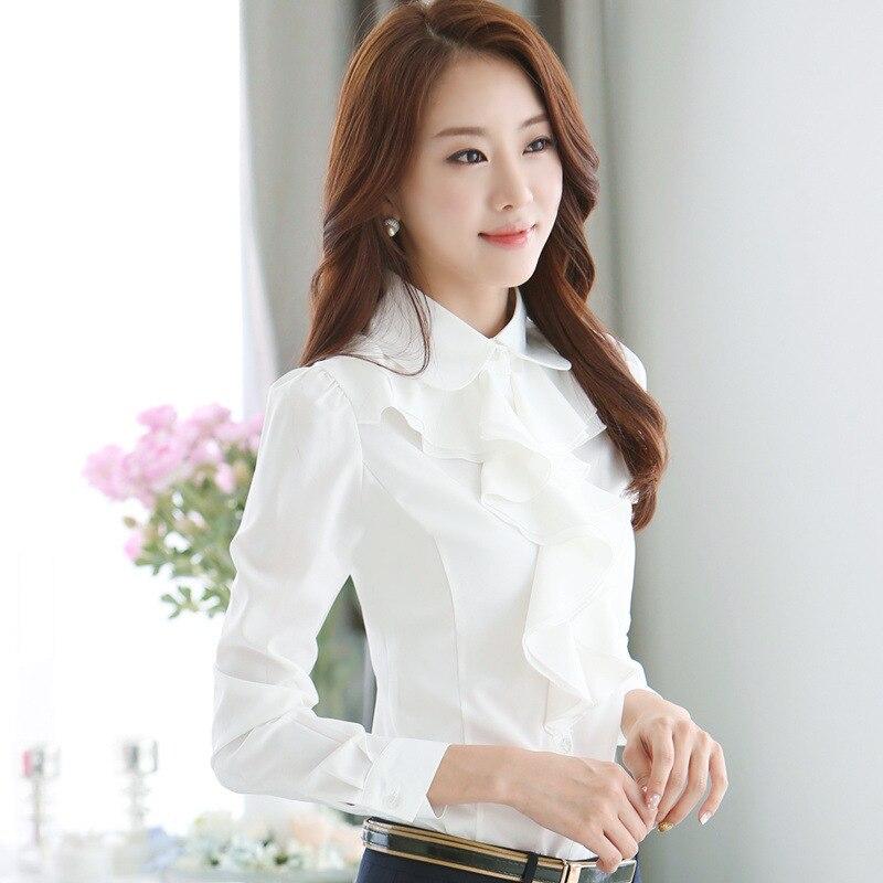 2016 Spring OL Elegant Long sleeve Frill Shirt font b Women s b font Fashion Plus