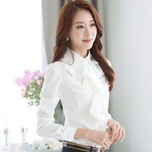2016  Spring OL Elegant Long-sleeve Frill Shirt Women's Fashion Plus Size Chiffon Blouses Female Office Formal Work Wear Tops