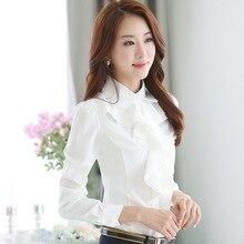 2017 Spring OL Elegant Long sleeve Frill Shirt Women s Fashion Plus Size Chiffon Blouses Female