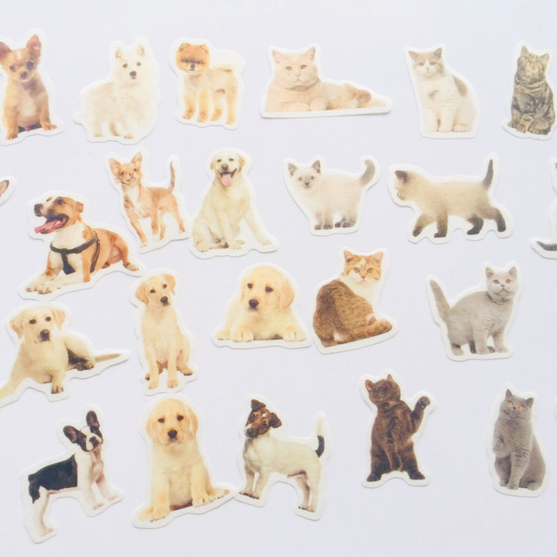 36 Sheets /Pack Kawaii Puppy Dog & Little Cats Washi Paper Adhesive Stickers Stick Label Notebook Decoration Stickers