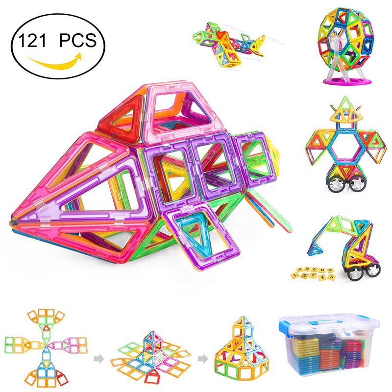 Big Size Blocks Magnetic Tiles Building Blocks For Kids Educational Toys For Boys and Girls ( 121 Pieces With Plastic Box )