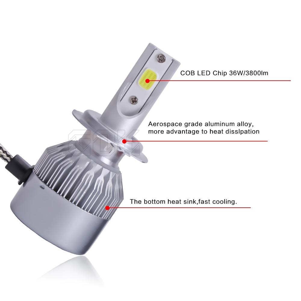 2pcs / set Super Bright 72W 7600LM COB H11 H7 LED prednja svjetla - Svjetla automobila - Foto 4