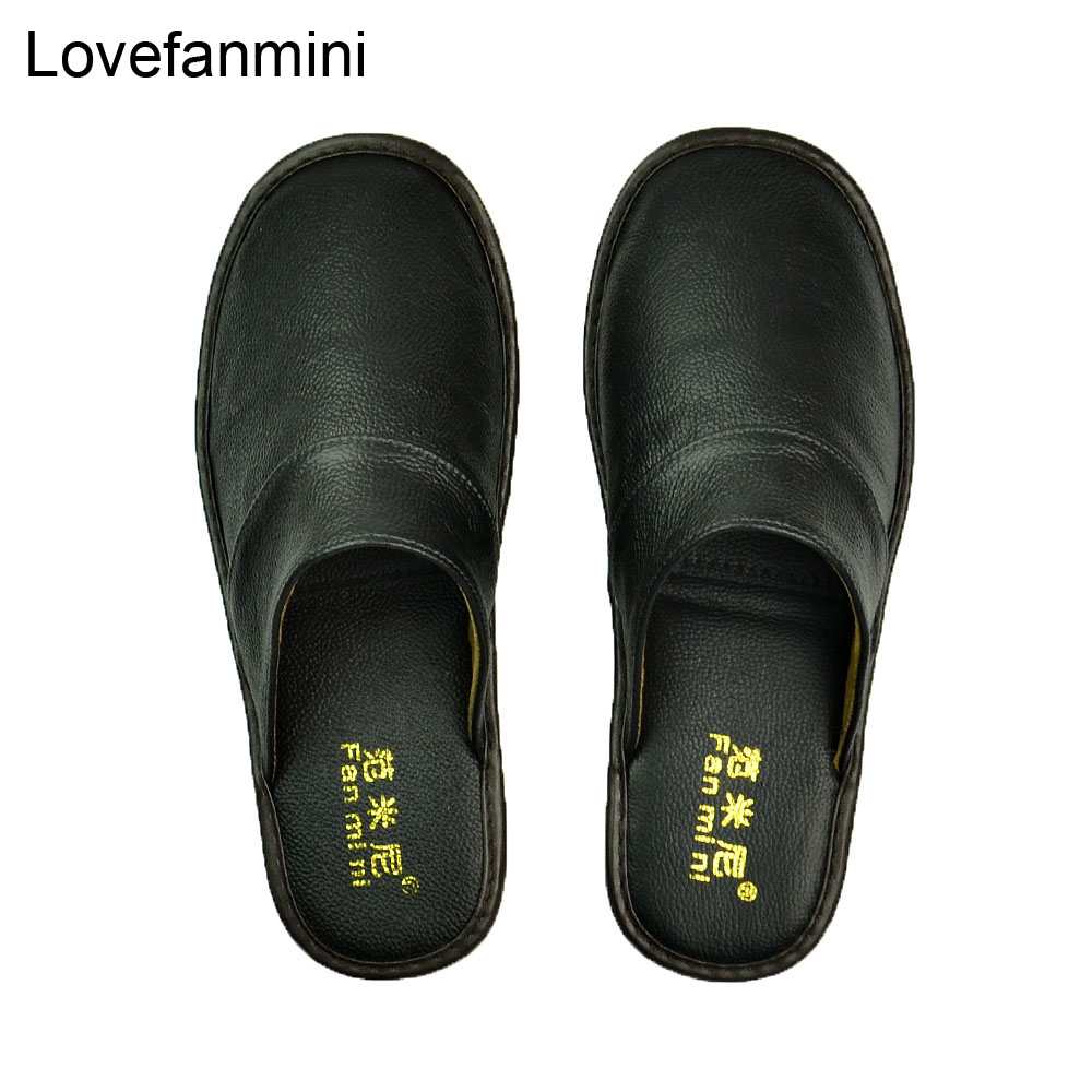 Genuine Cow Leather Slippers Couple Indoor Non-slip Men Women Home Fashion Casual Single Shoes TPR Soft Soles Spring  Autum 519