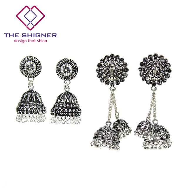 a6fb79a8a THE SHIGNER Indian Bollywood Oxidised German Silver Jhumka Jhumki Dangle  Beads Earrings Traditional Earrings Jewellery For Women