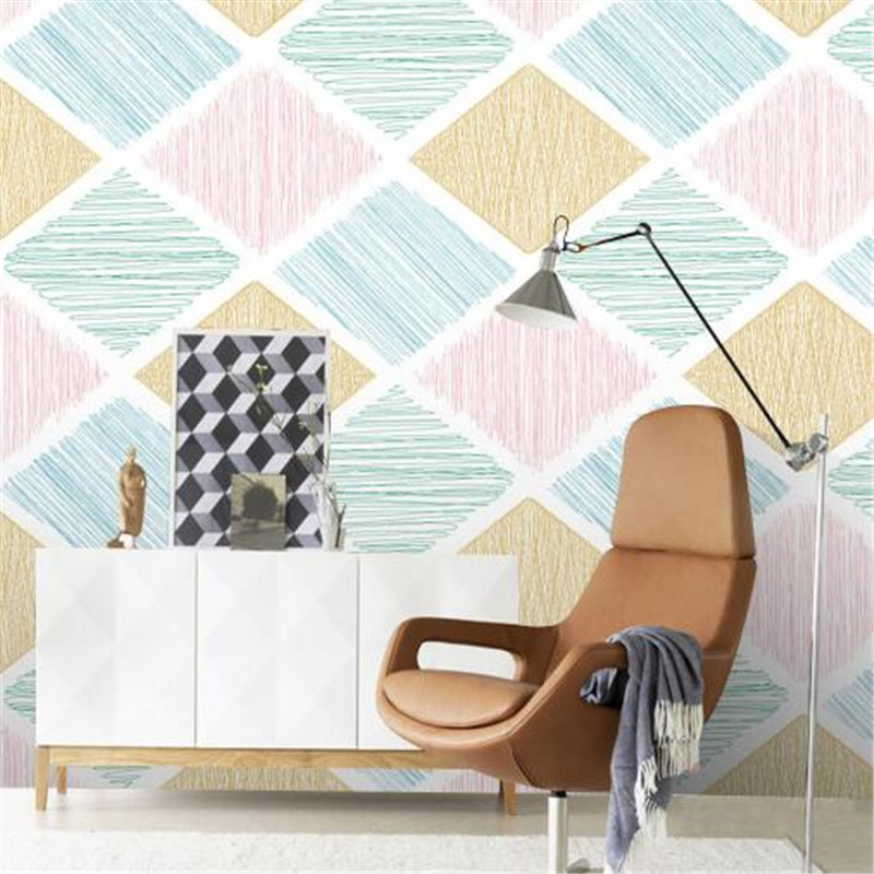 Vintage Wall Paper Diamond Seamless Non-Woven Wallpapers Simple Wall Papers Home Decor Red Blue Orange Background beibehang wall papers home decor wallpapers cute child radiant non woven pearl wallpapers boy girl bedroom background wallpaper