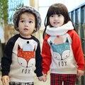Зимой дети теплый пот лисы рубашки мальчики девочки сгустите бархатные толстовки рубашки дети симпатичные мягкие пальто хлопка младенца рубашки