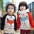 winter children warm sweat foxes shirts boys girls thicken velvet hoodies shirt kids cute soft coat baby cotton shirt