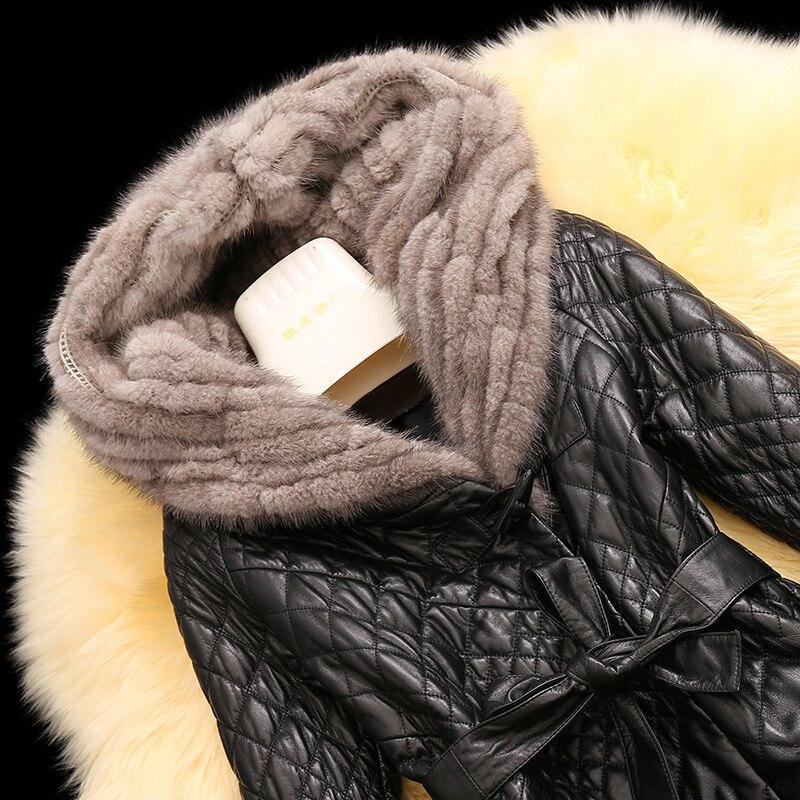 À 2018 Mince Peau De D'hiver Pour Cuir En Ayunsue Veste Col Vison Mouton Manteau Chaud Capuchon Noir Femmes Manteaux Yq1858 Blet Véritable Longue Fourrure aApwxd