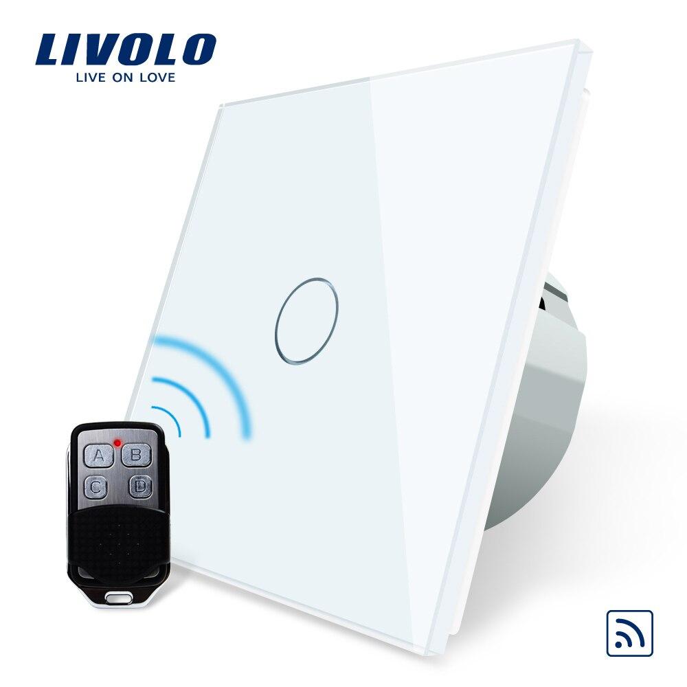 Interruptor remoto estándar de la UE de Livolo, V Interruptor táctil remoto de la luz de pared de 220 250 V de CA con Mini mando a distancia C701R-11-RT12
