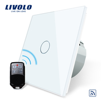 Free Shipping Livolo EU Standard Remote Switch White Crystal Glass Panel 110 250V Wall Light Remote