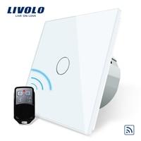 Free Shipping Livolo EU Standard Remote Switch White Crystal Glass Panel 110 250V Wall Light Remote