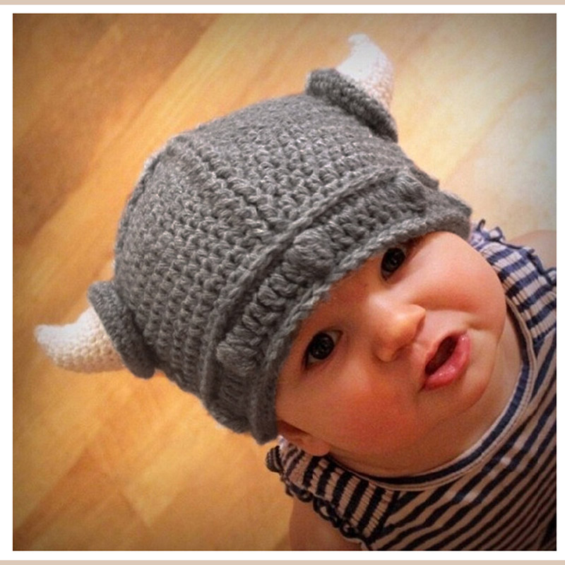 64b77c9af62 Handmade Baby Wool knitting Pirate Hat Bonnet Crochet Winter Hat Cartoon  Toddler Viking Horns Knitted Hat-in Hats   Caps from Mother   Kids on ...