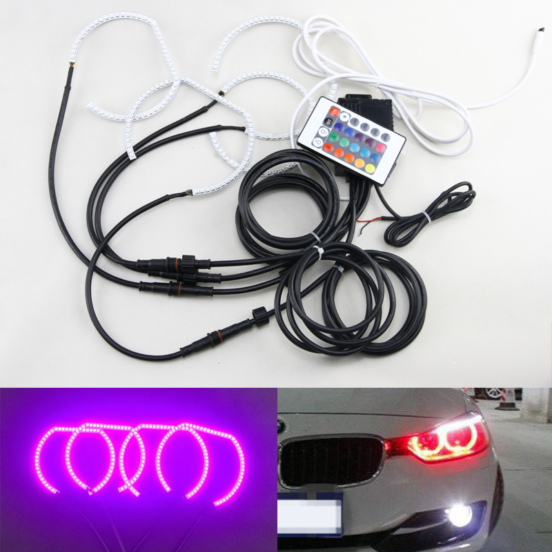 DTM Style Horseshoe RGB Color-Changing Multi-Color Led Angel Eyes Halo Rings Kit For Bmw Headlights F30 F31 F34 2017 new android ios wifi control 120mm rgb led angel eyes halo rings for bmw e30 e32 e34 multi color change led headlight