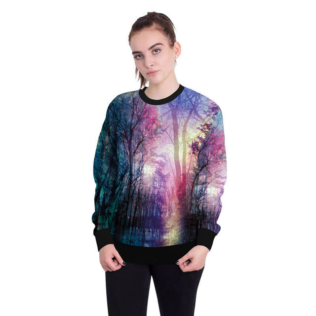 a978d2c1faef Harajuku Kawaii Sweatshirt Galaxy Space Shirt Women 3D forest Print  Pullover Long Sleeve Hoodies Korean Streetwear Casual Coats