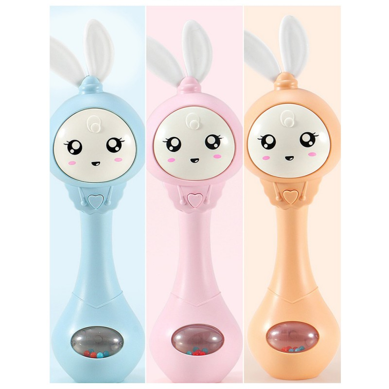 2018 Hot Selling Baby Toys Hand Bells Puzzle Music and Flashing Shaking Rattles 6-12 Months Sound and Light Rhythm Induction Q1