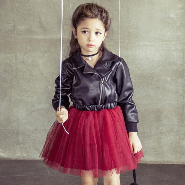 New Year Costumes For Children Baby Girls Dress Leather