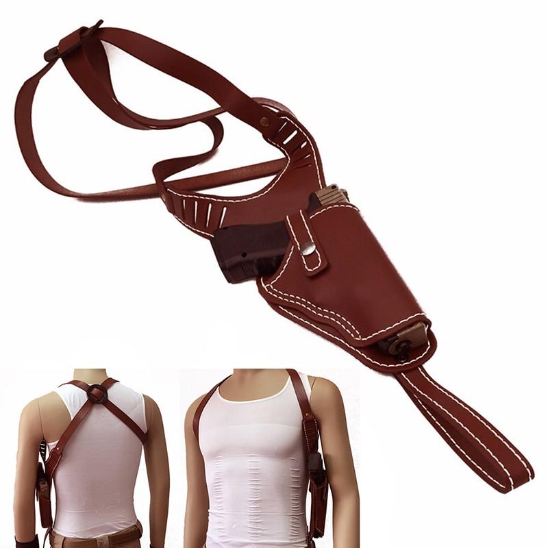 Vente chaude Droit Main Gun Holster Boucle Vachette Pistolet Sac Adapte Moyen Cadre Auto Armes de Poing Vachette Pistolet Sac Vertical Véritable en cuir