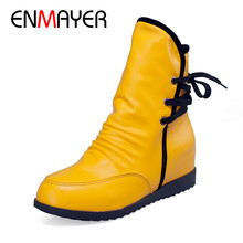 ENMAYER 2018 New Womans Shoes Vintage Style Women Boots Flat Booties Soft Short Plush Lace Up Round Toe Ankle CY044