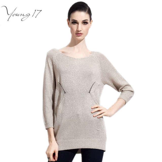 Venda de afastamento Young17 marca mulheres blusas de manga longa cinza o pescoço camisolas universidade breve casual apricot sólidos blusas tops