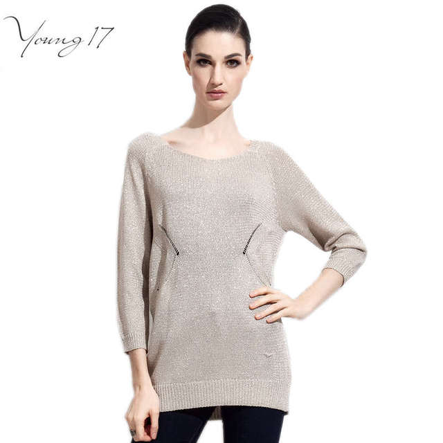 Young17 clearance sale brand women sweaters gray long sleeve o neck sweaters university brief casual apricot solid sweaters tops