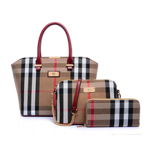 Fashion Canvas Plaid Women Handbags Composite Bags Totes England style Handbag 1 Set 3 Pieces